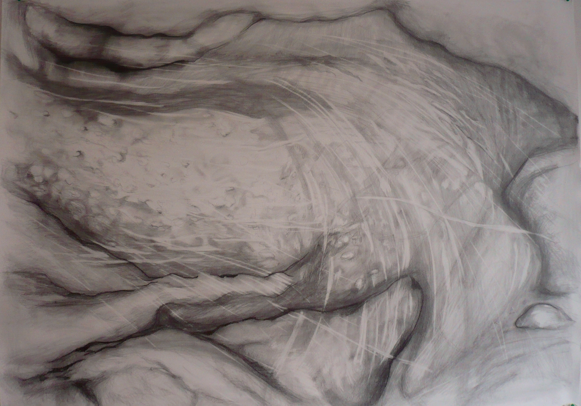 Carita Savolainen, Airscape on Water (Orb), 110cm x 150cm, pencil and charcoal on paper, veil, 2012