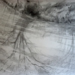 carita-savolainen-airscape-on-water (Jaur) pencil-and-charcoal-on-paper,  veil-150cm-x-110cm-2012