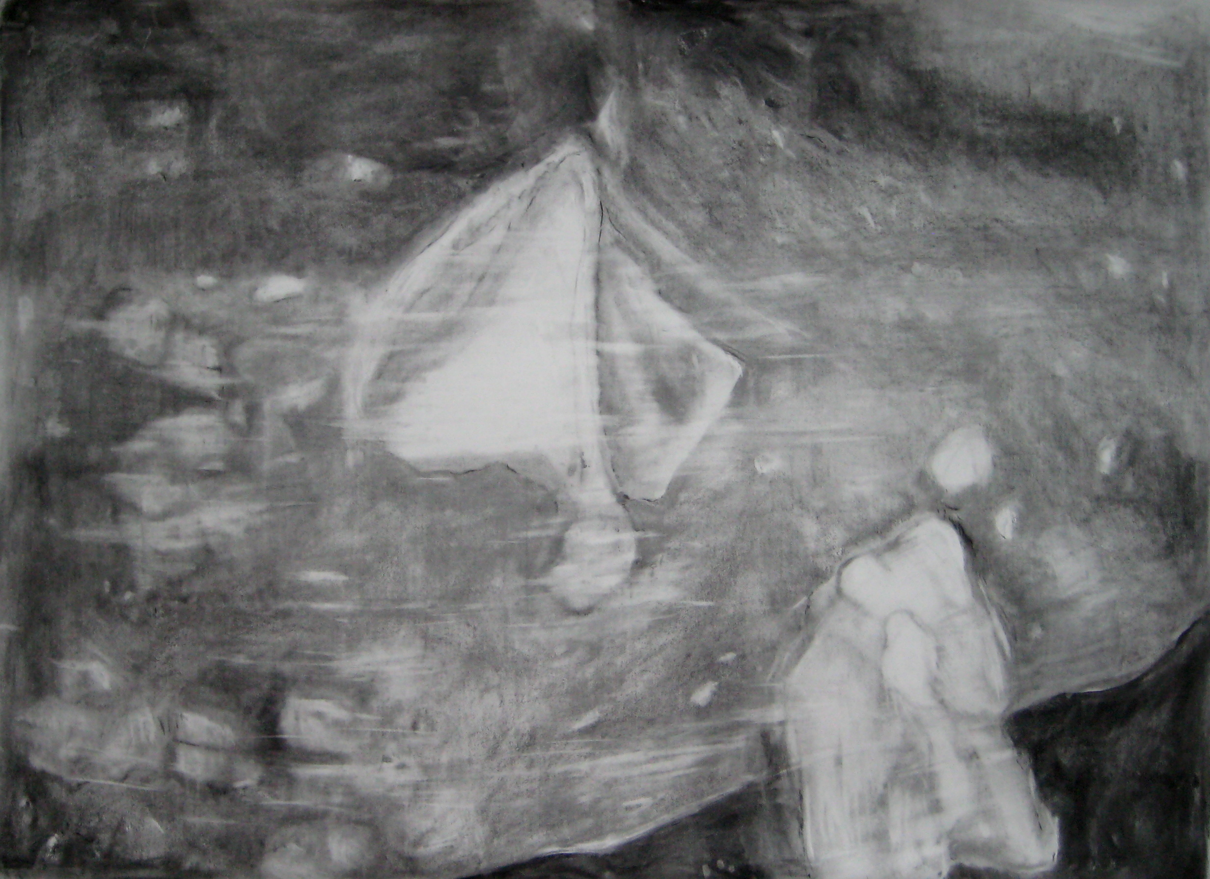 carita-savolainen-airscape-on-water( baltic) pencil-and-charcoal-on-paperveil-150cm-x-110cm-2012