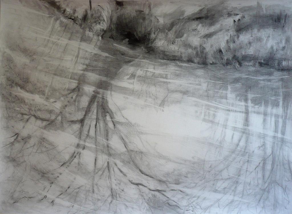 carita-savolainen-airscape-on-water (Jaur) pencil-and-charcoal-on-paper,  veil-150cm-x-110cm-2012