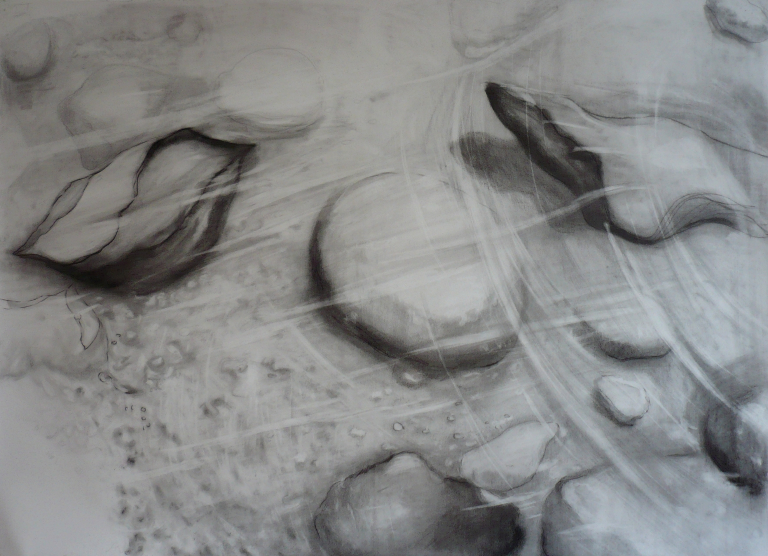 Carita Savolainen, Airscape on Water (Kuohu), 110cm x 150cm, pencil and charcoal on paper, veil, 2012