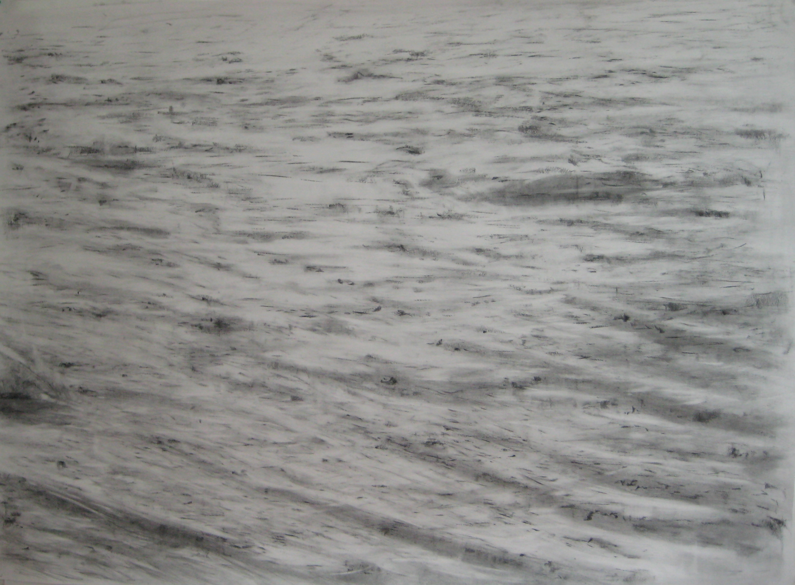 carita-savolainen-airscape-on-water (Stream), pencil-and-charcoal-on-paper, veil-150cm-x-110cm-2012