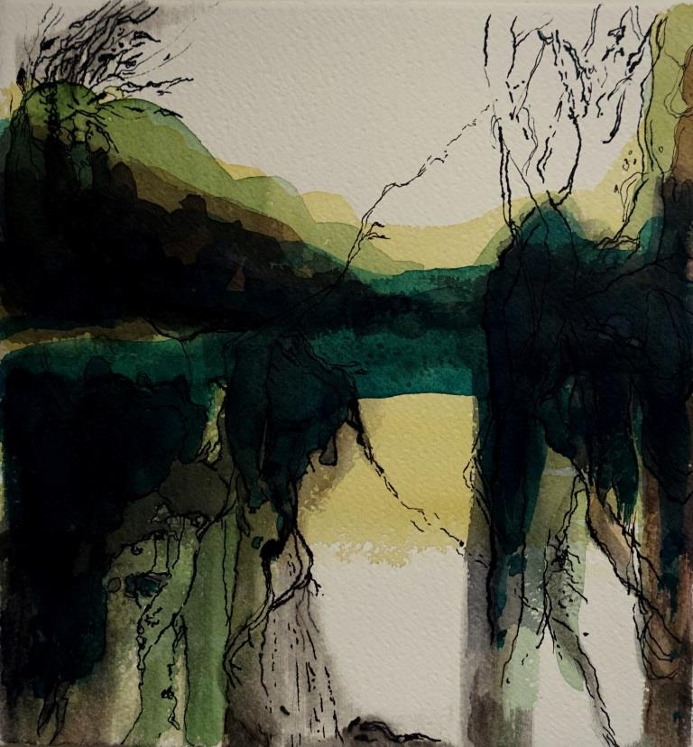 carita-savolainen-landscape-is-singing-xv, watercolor-and-ink-on-paper-25cm-x-25cm-2020
