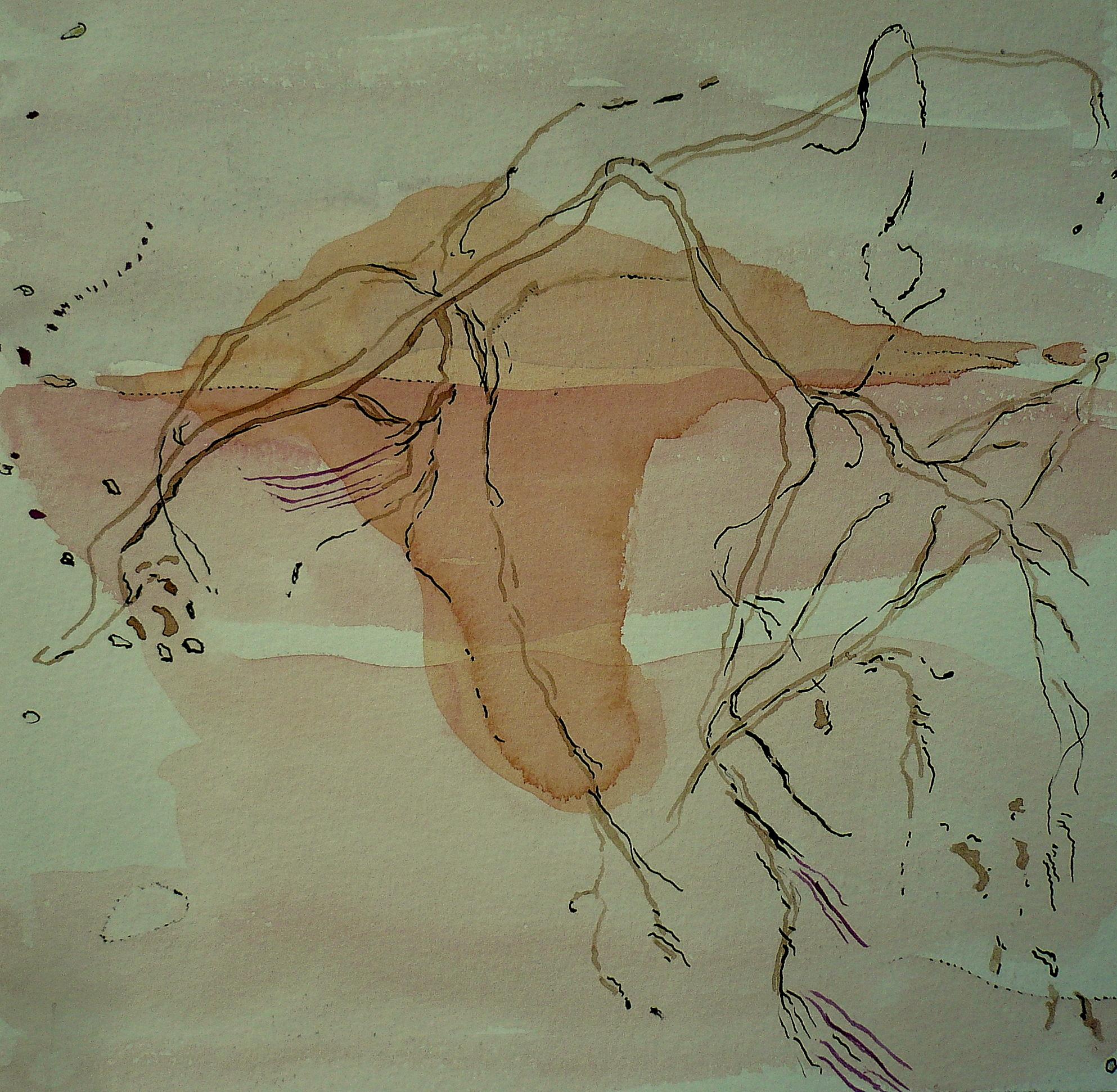 carita-savolainen-memoire-de-leau-ii-landscape-is-singing-aquarelle-et-encre-sur-papier-canson-20cm-x-20cm-2019-